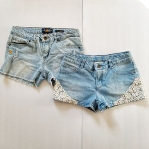 Lot of 2 Girls Size 14 Denim Shorts Lucky Crazy 8